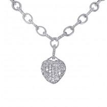18 karat diamond heart necklace with diamond link chain.