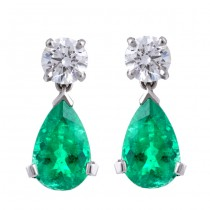 Platinum Diamond and Emerald Drop Earrings