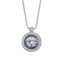 Platinum Diamond and Sapphire Necklace