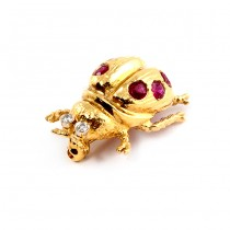 Ruby and Diamond Yellow Gold Bee Pendant