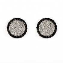 18 K White Gold Black and White Diamond Earrings