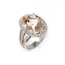14 K White Gold Diamond and Morganite Ring