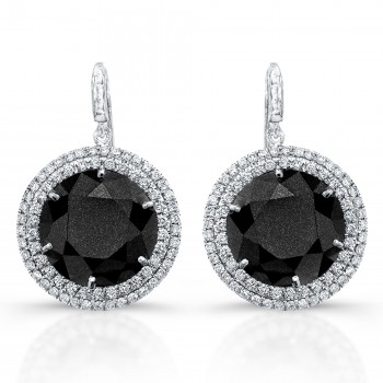Halo diamond drop earrings with black diamonds.