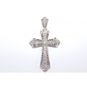 18k White Gold Diamond Cross Pendant - ST9021