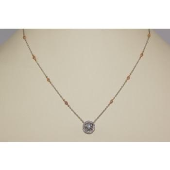 Platinum and Rose Gold Diamond Pendant