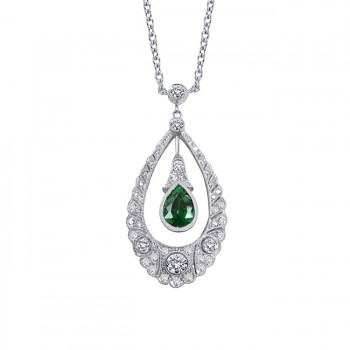 Platinum Diamond and Tsavorite Pendant