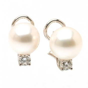 Diamond Pearl Earrings