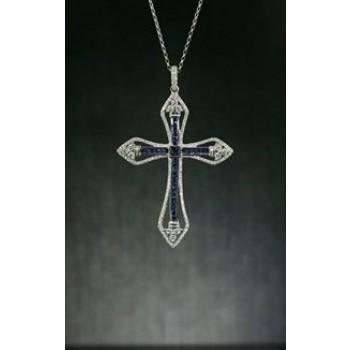 18 karat White Gold Diamond and Sapphire Cross