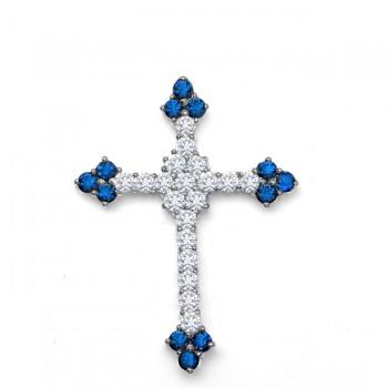 Diamond and Sapphire Cross Necklace