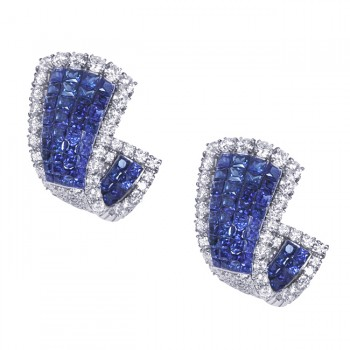 Invisible Diamond and Sapphire Earrings