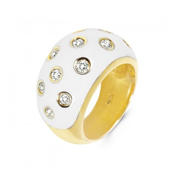 18K Yellow Gold White Enamel Ring