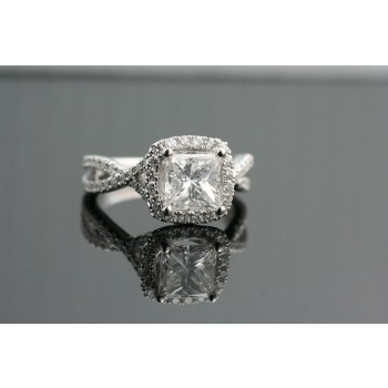 Ascher cut diamond engagement ring.
