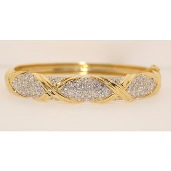 14K Yellow Gold diamond Bangle Bracelet.