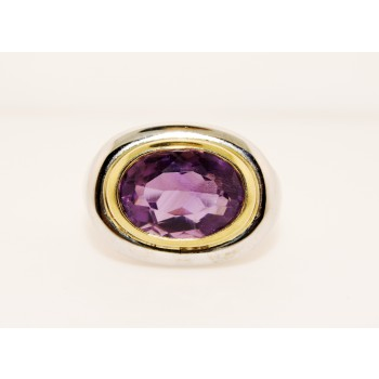 14K Two Tone Gold Amethyst Ring