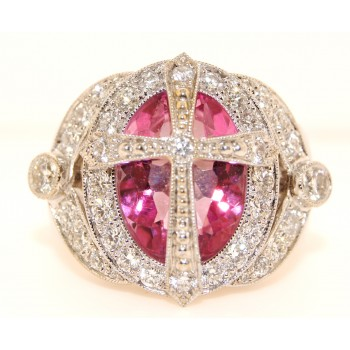 18K White Gold Diamond and Pink Topaz Ring