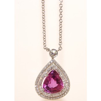 18K White Gold Diamond and Pear shaped Pink Sapphire