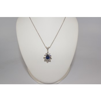 Pear Shape Diamond and Sapphire pendant.