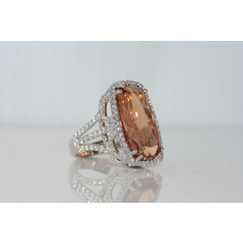 Imperial Topaz and diamond ring.