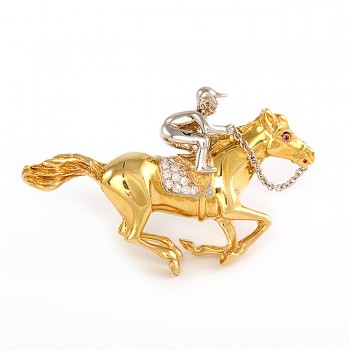 Two-Tone Horseman on Horse Pin