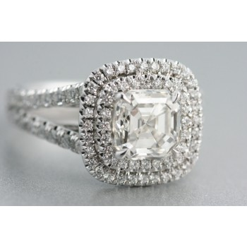 Platinum engagement ring with ascher cut diamond.