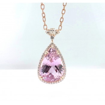18 Karat Rose Gold Diamond and Kunzite Necklace.