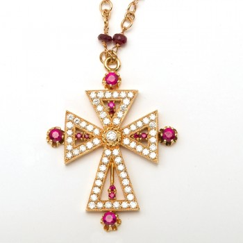 18K Rubies and Diamonds Yellow Gold Cross Necklace