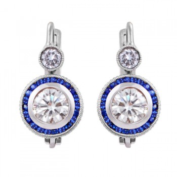 Platinum Diamond and Sapphire Earrings