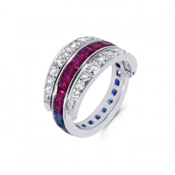 Platinum Diamond, Sapphire and Ruby Ring