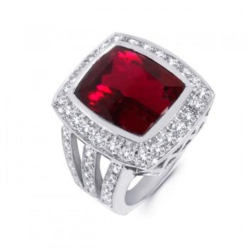 18K White Gold Rubellite Ring