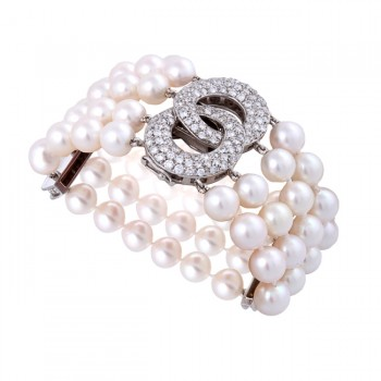 18K White Gold 4 Strand Diamond Clasp and Pearl Bracelet