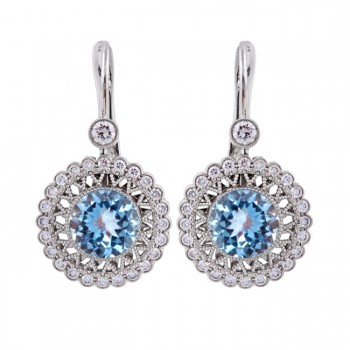 18K White Gold Diamond and Aquamarine Drop Earrings
