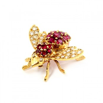 Yellow Gold Ruby and Diamond Bee Pendant