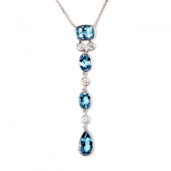 Handmade White Gold Diamond and Aquamarine Pendant